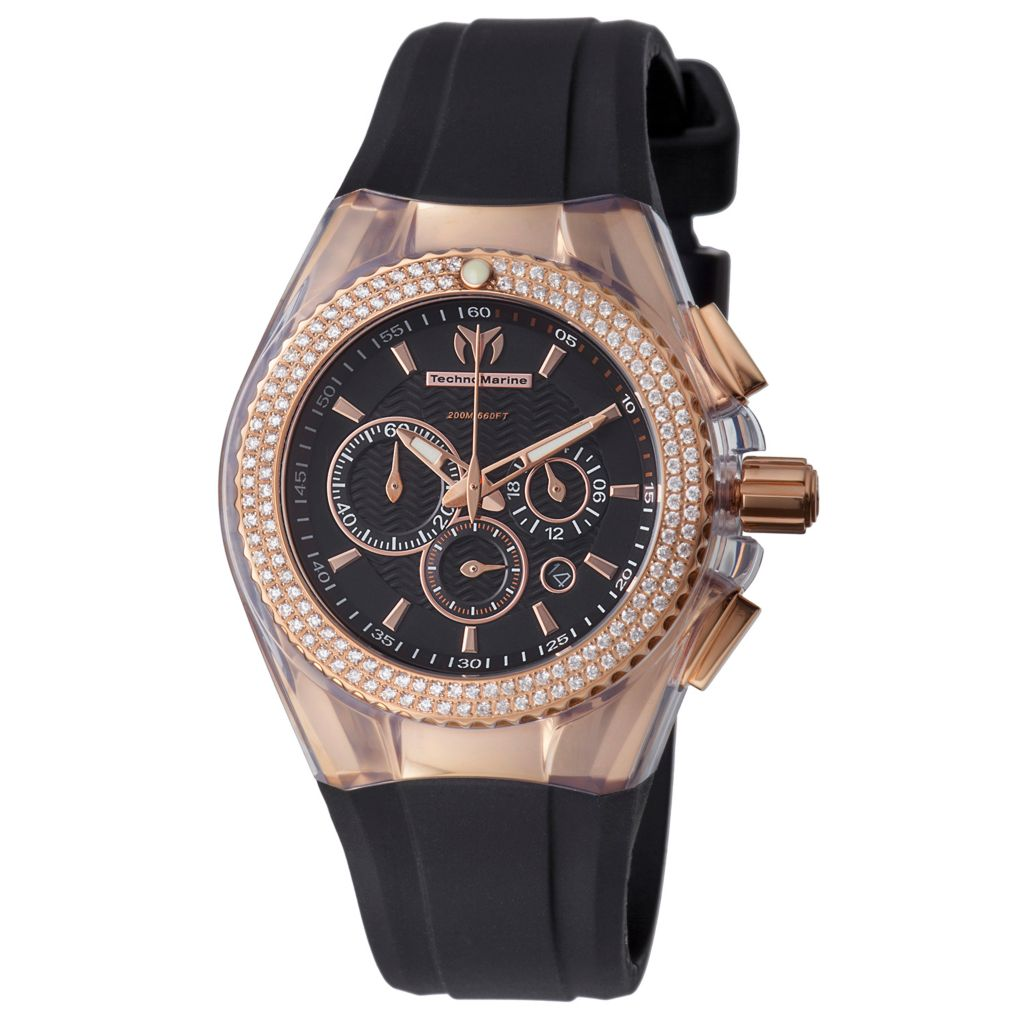 628-602 - TechnoMarine 40mm Cruise Star Quartz Chronograph Diamond Accented Rubber Strap Watch