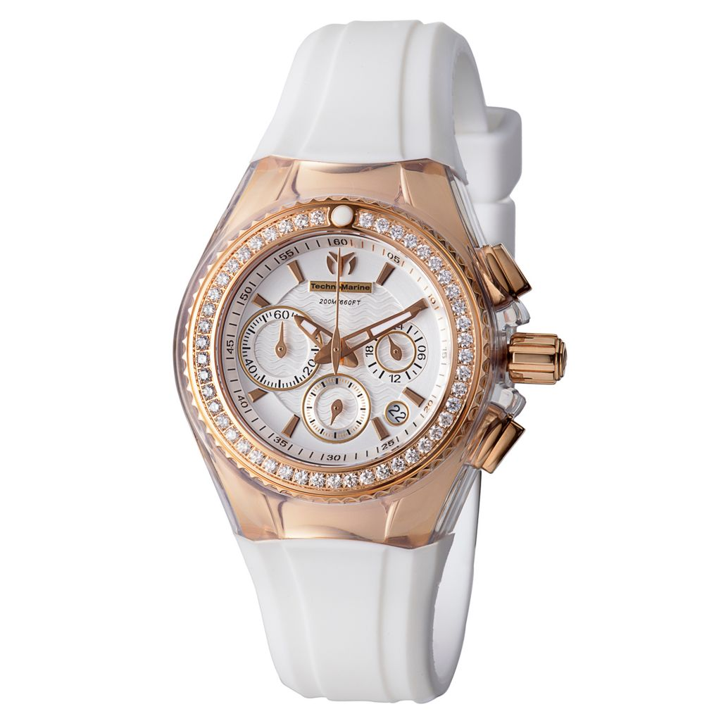 628-603 - TechnoMarine Women's Cruise Star Quartz Chronograph Diamond Accented Rubber Strap Watch