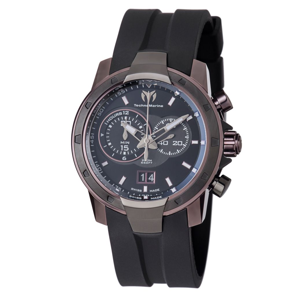 628-606 - TechnoMarine 45mm UF6 Grande Swiss Quartz Chronograph Date Rubber Strap Watch