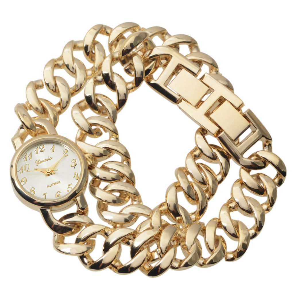 628-613 - Geneva Platinum Women's Quartz Chain Link Wrap Bracelet Watch