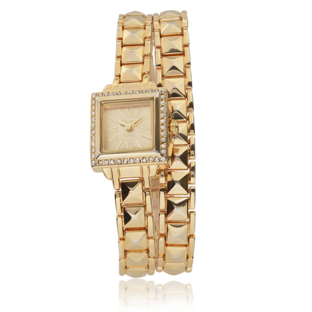 628-614 - Geneva Platinum 21mm Square Quartz Crystal Accented Wrap Bracelet Watch