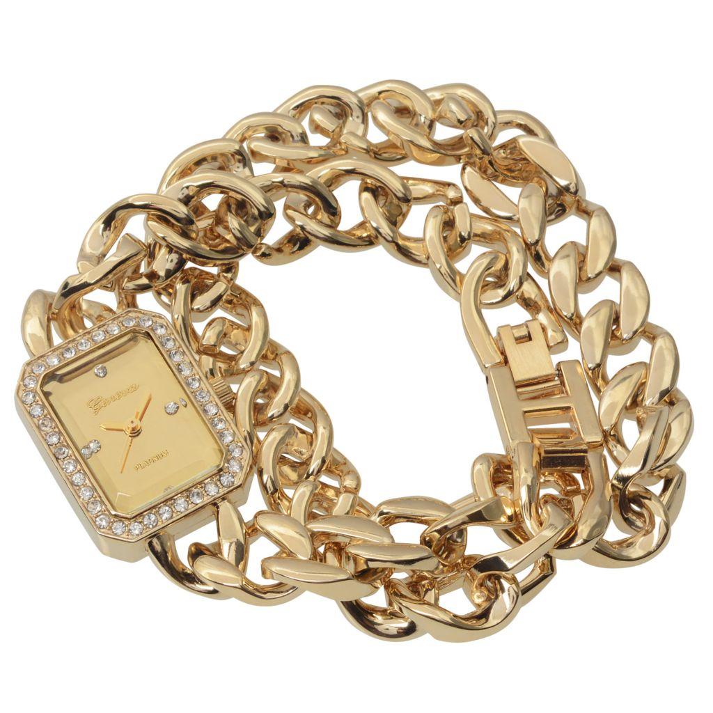 628-615 - Geneva Platinum Rectangular Crystal Accented Chain Link Wrap Bracelet Watch