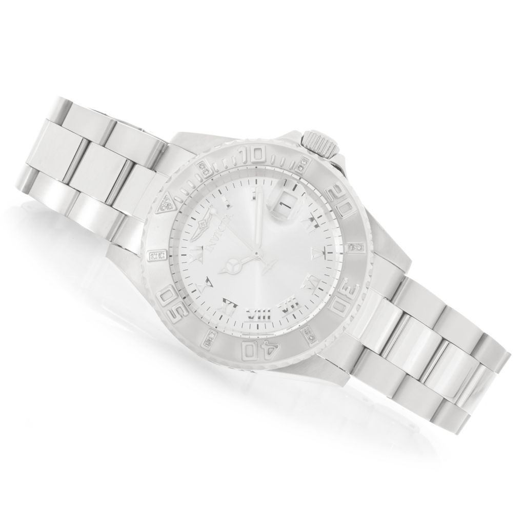 628-617 - Invicta Women's Angel Diver Diamond Accented Quartz Stainless Steel Bracelet Watch