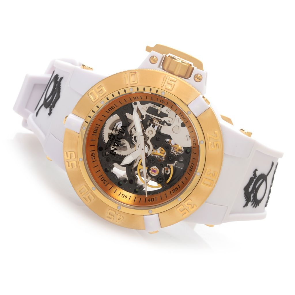 628-621 - Invicta Women's Subaqua Noma III Mechanical Skeletonized Dial Silicone Strap Watch