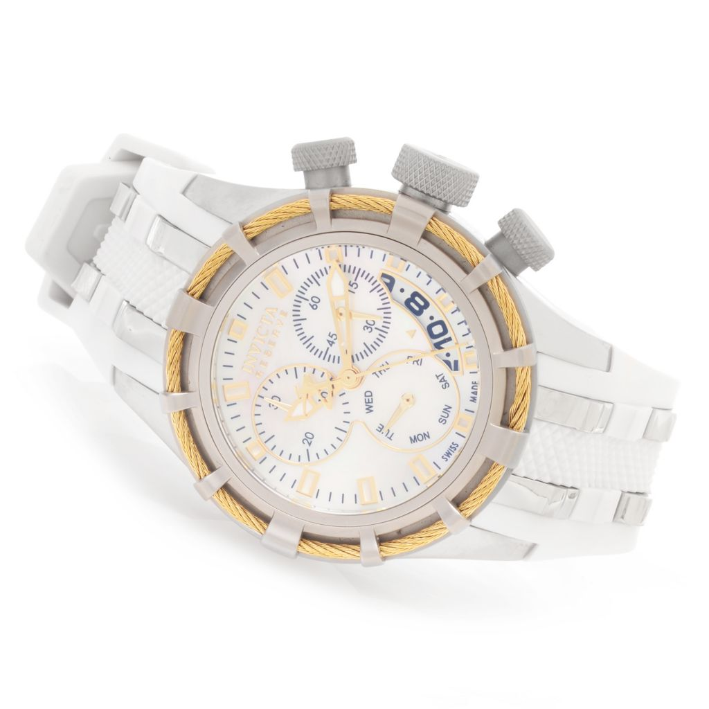 628-628 - Invicta Reserve Women's Bolt Swiss Chronograph Mother-of-Pearl Polyurethane Strap Watch