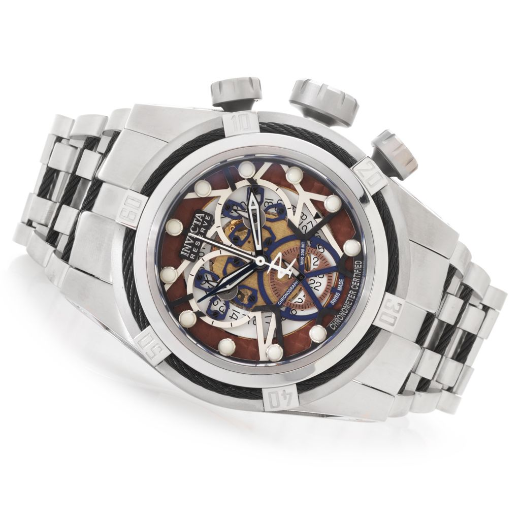 628-629 - Invicta Reserve 52mm Bolt Zeus Swiss Made COSC Stainless Steel Bracelet Watch