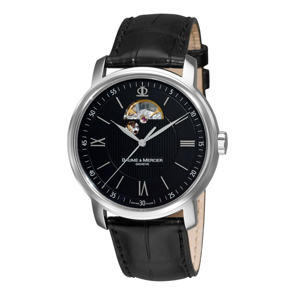 628-632 - Baume & Mercier 42mm Classima Swiss Made Automatic Skeletonized Leather Strap Watch