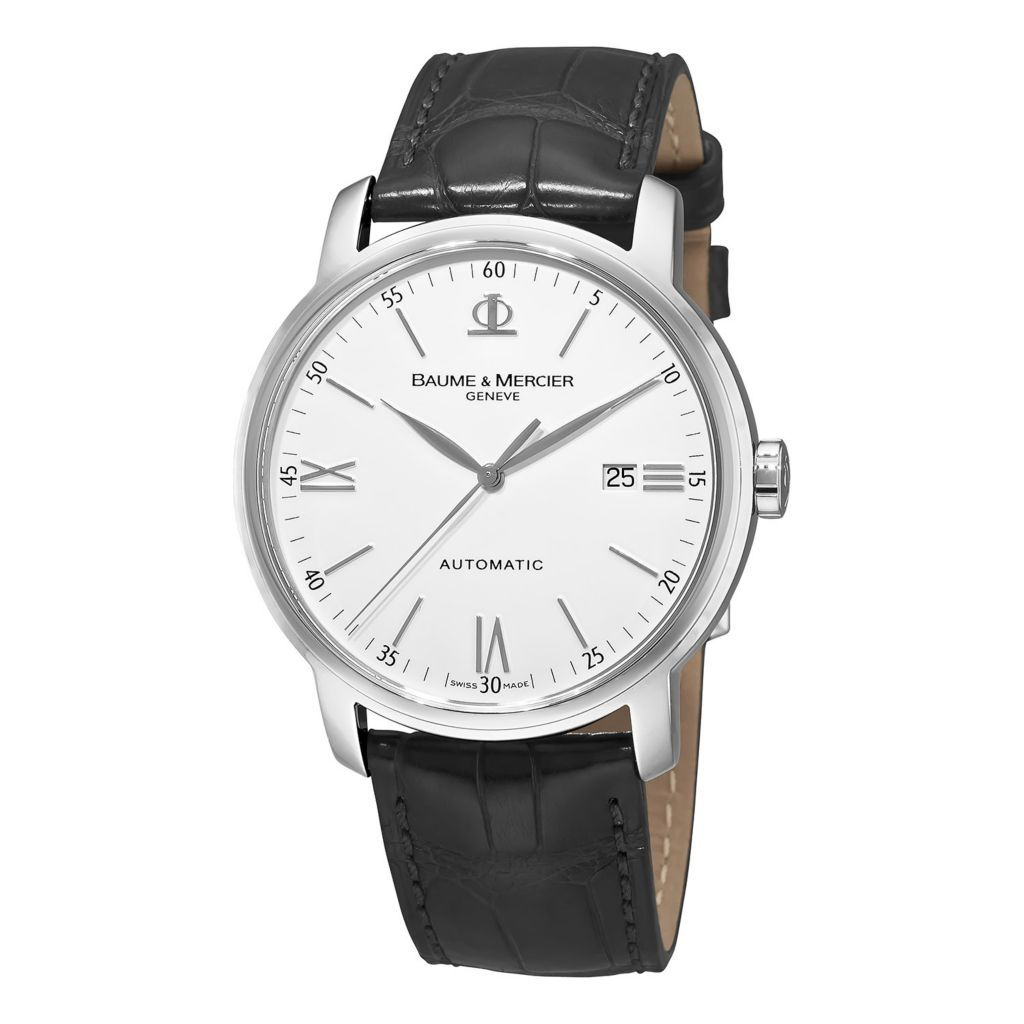 628-633 - Baume & Mercier 42mm Classima Swiss Made Automatic Date Leather Strap Watch