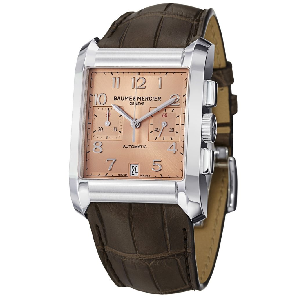 628-638 - Baume & Mercier Rectangular Hampton Swiss Made Automatic Chronograph Leather Strap Watch