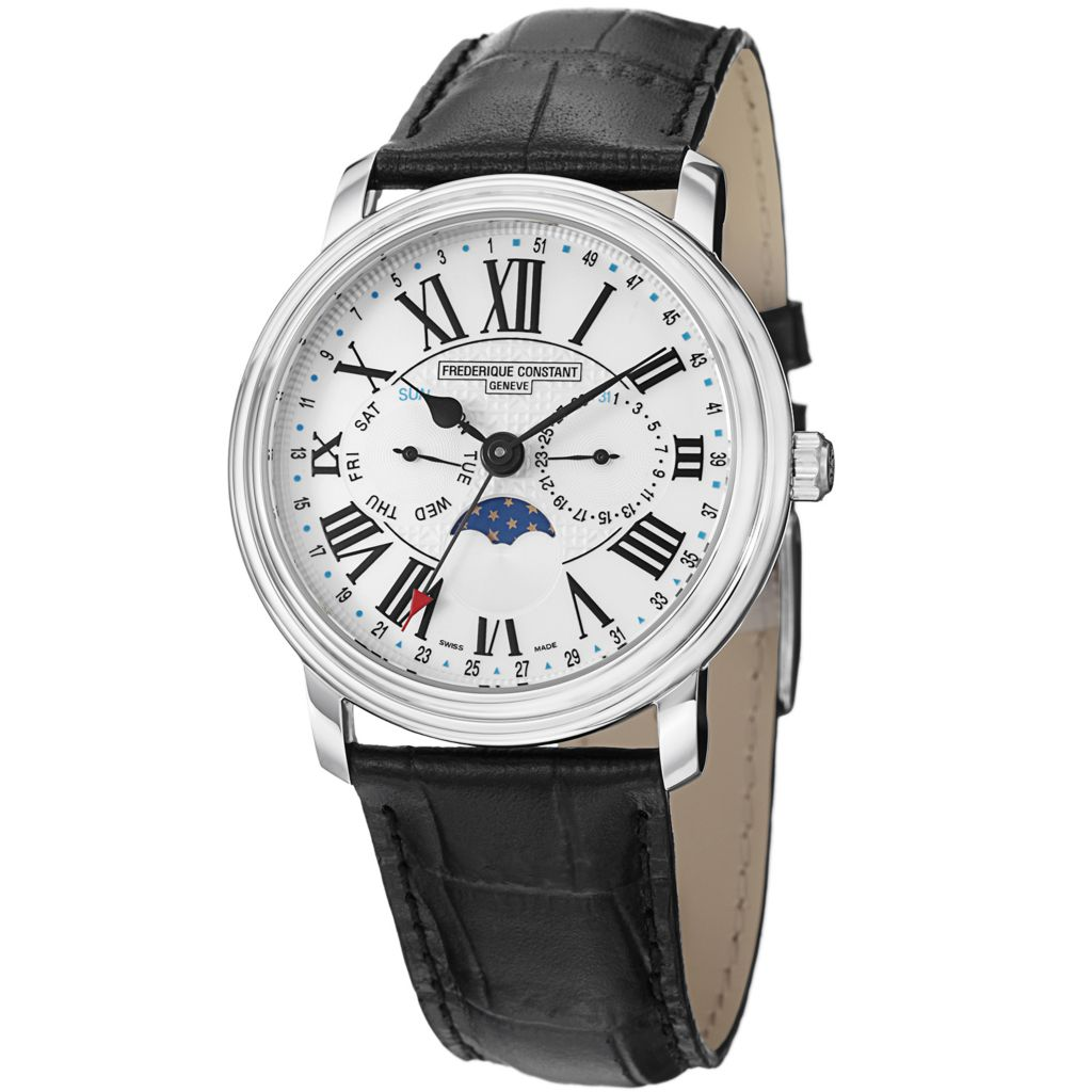 628-642 - Frederique Constant 40mm Business Time Swiss Made Quartz Leather Strap Watch
