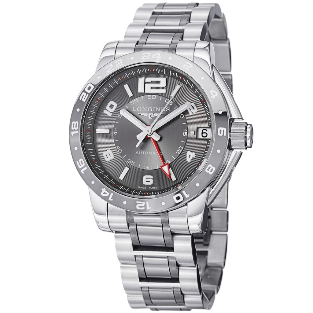 628-645 - Longines 42mm Admiral Swiss Made Automatic GMT Stainless Steel & Ceramic Bracelet Watch