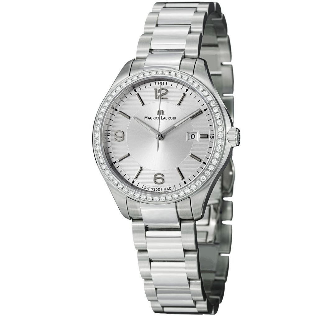 628-649 - Maurice Lacroix Women's Miros Swiss Made Quartz Diamond Accented Bracelet Watch