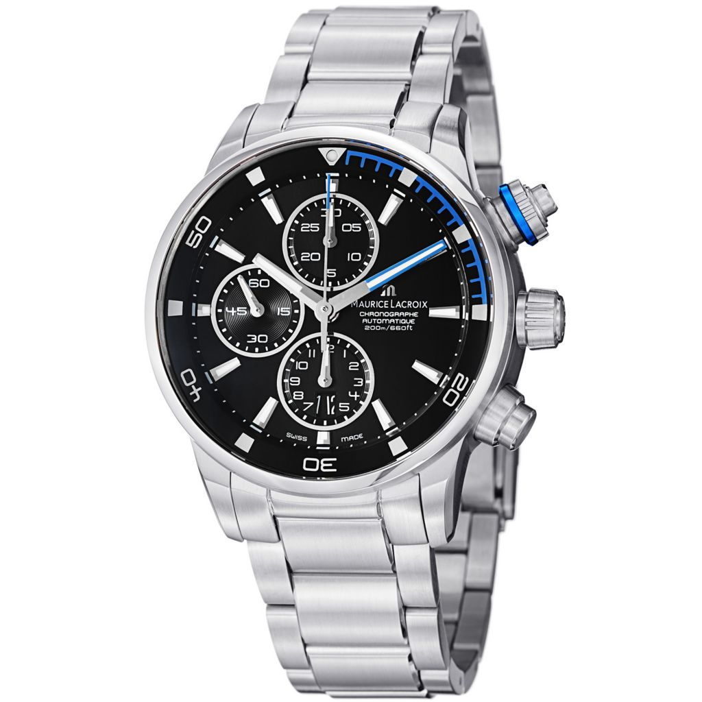 628-650 - Maurice Lacroix 43mm Pontos Swiss Made Automatic Chronograph Stainless Steel Bracelet Watch