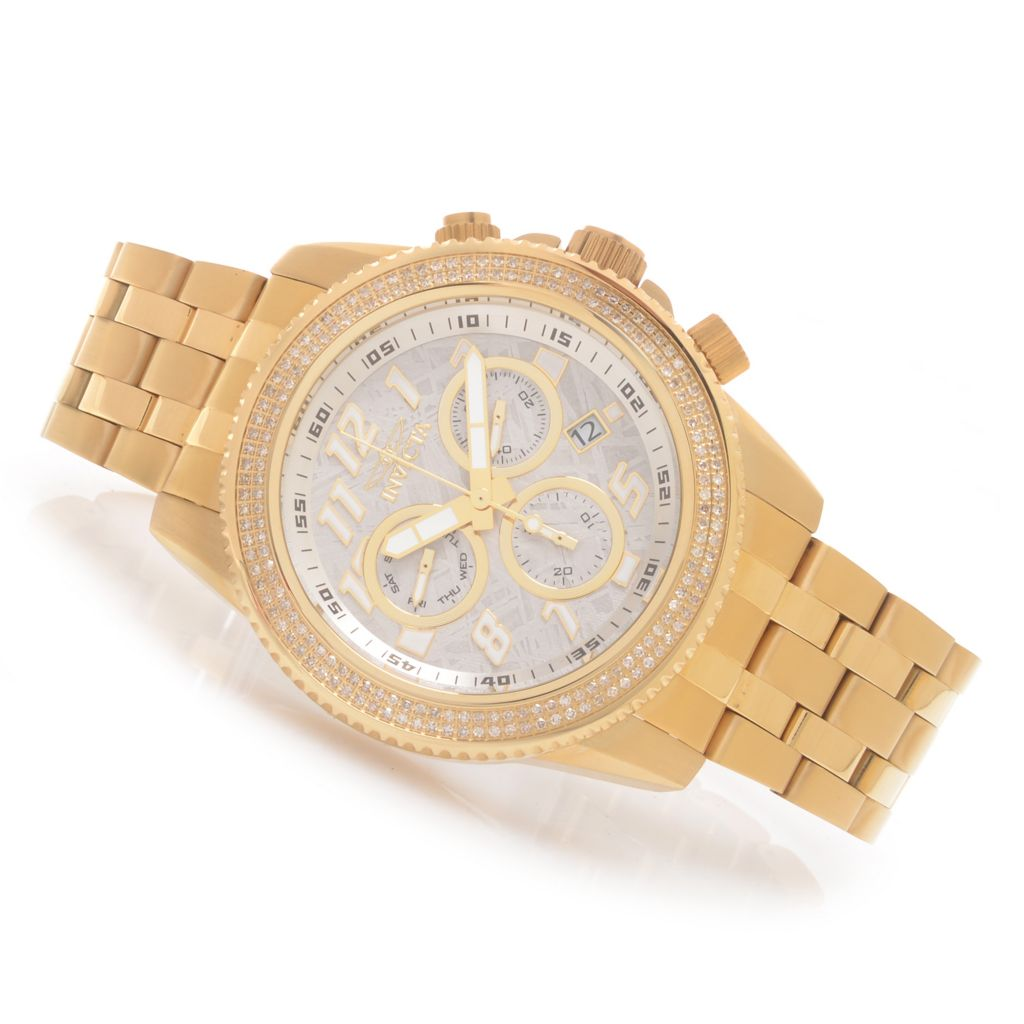 628-651 - Invicta 50mm Ocean Prestige Swiss Quartz Meteorite Dial 0.81ctw Diamond Bracelet Watch