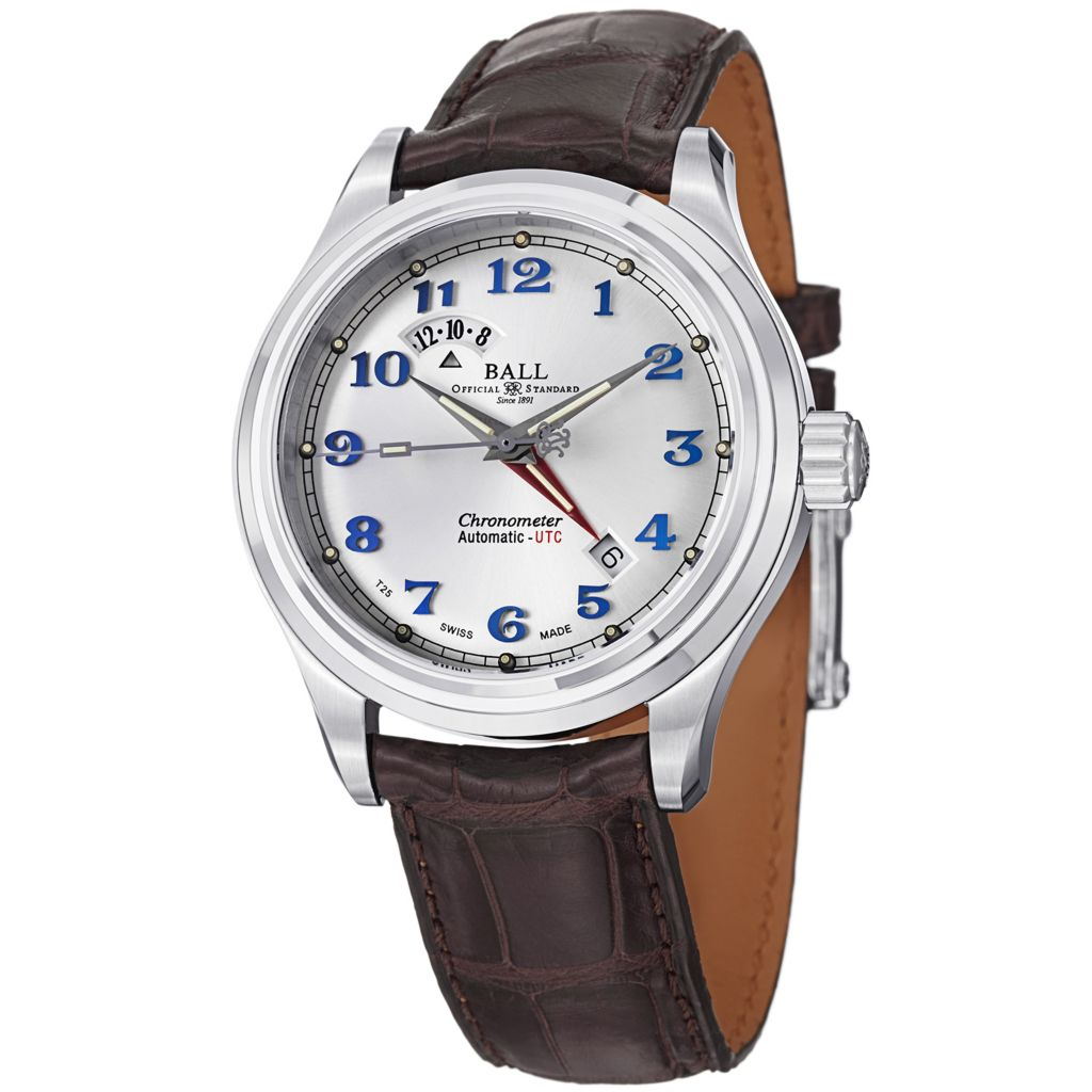 628-663 - Ball 41mm Trainmaster Cleveland Express Swiss Made Automatic Dual Time Leather Strap Watch