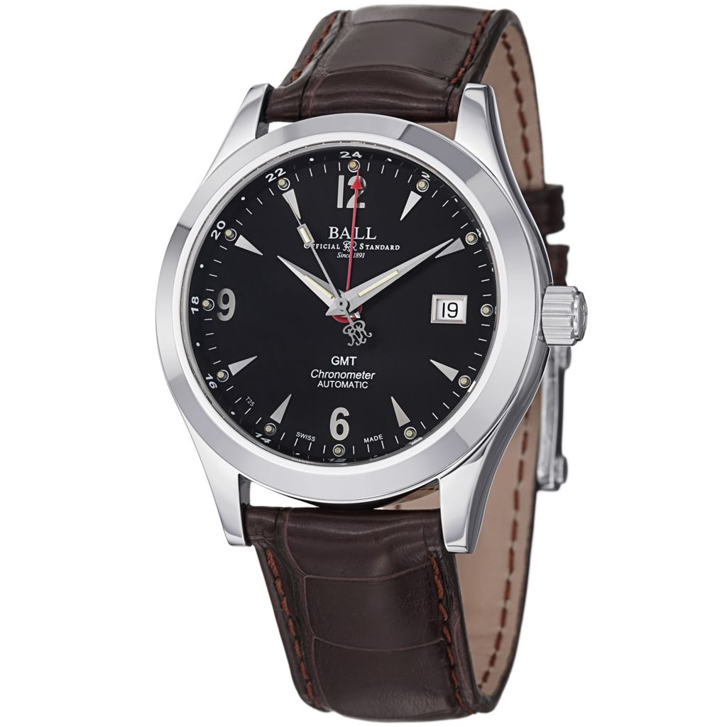 628-664 - Ball 40mm Engineer Ohio GMT Swiss Made Automatic Leather Strap Watch