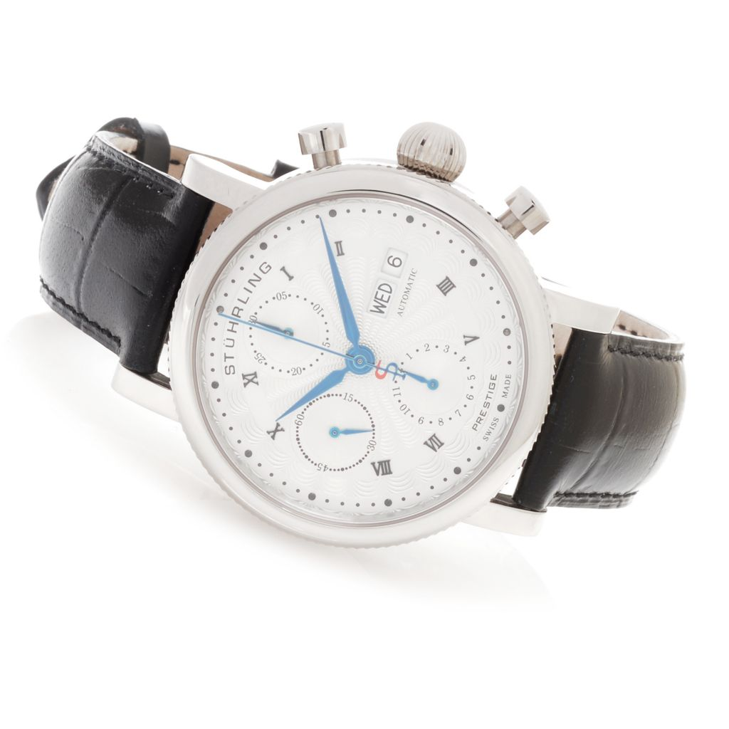 628-666 - Stuhrling Prestige 40mm Prominent Swiss Made Automatic Leather Strap Watch
