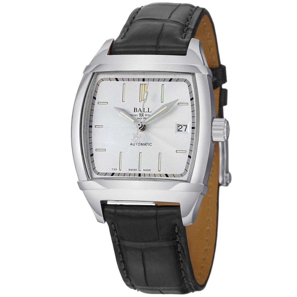 628-672 - Ball 35.5mm Conductor Classic Swiss Made Automatic Date Leather Strap Watch
