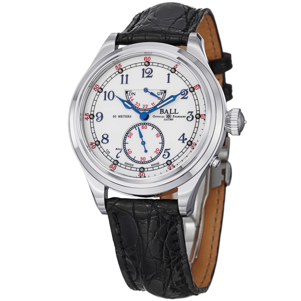 628-675 - Ball 39mm Trainmaster 21st Century Swiss Made Automatic Leather Strap Watch