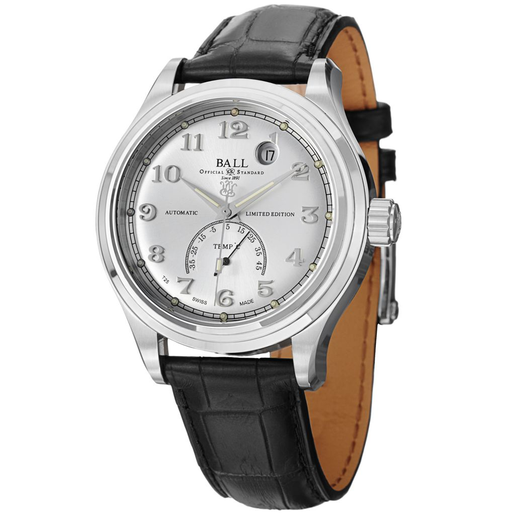 628-676 - Ball 39mm Trainmaster Celsius Swiss Made Automatic Date Leather Strap Watch