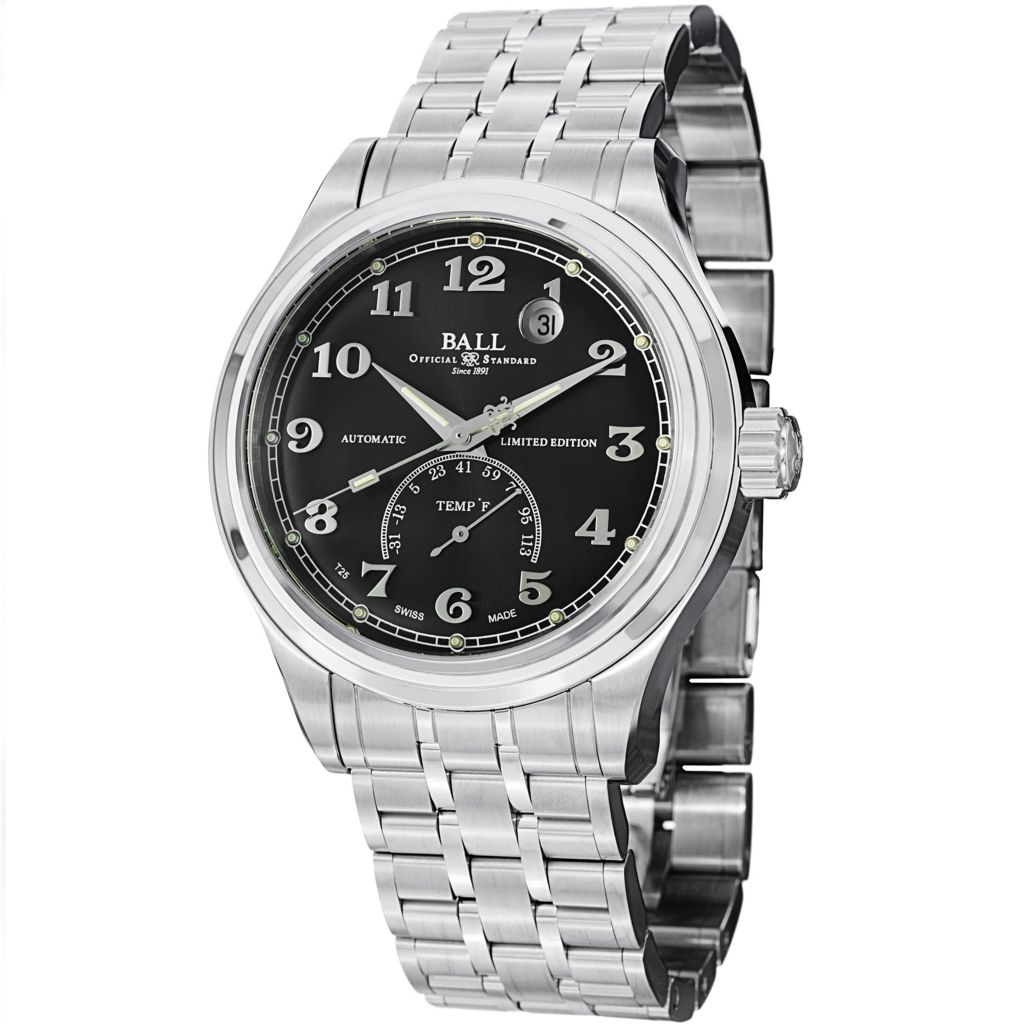 628-679 - Ball 41mm Trainmaster Fahrenheit Swiss Made Automatic Stainless Steel Bracelet Watch