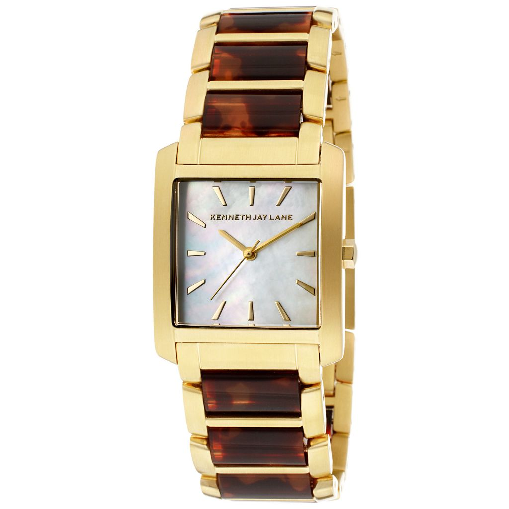 628-681 - Kenneth Jay Lane Rectangular Quartz Stainless Steel & Resin Bracelet Watch