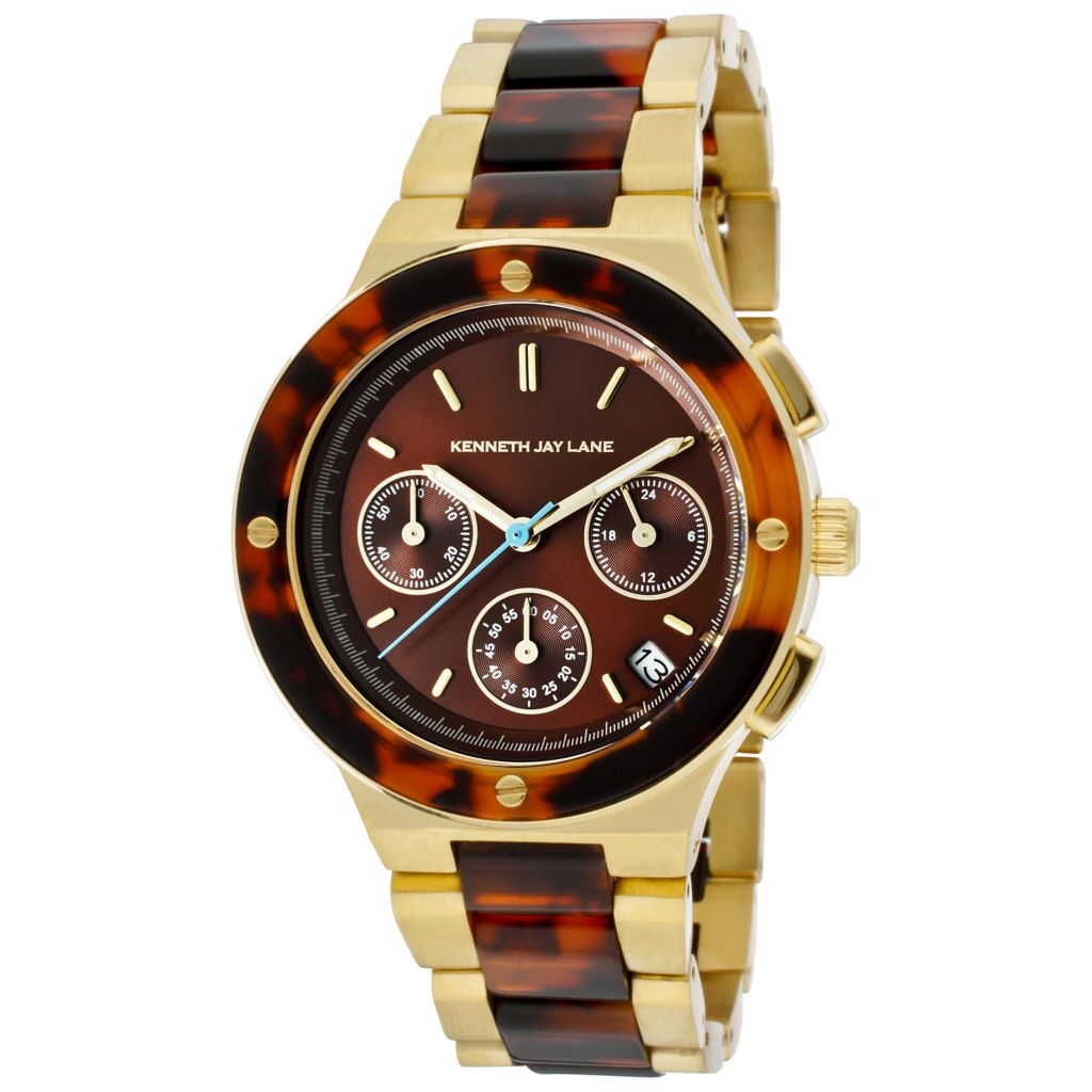 628-684 - Kenneth Jay Lane Women's Quartz Chronograph Stainless Steel & Resin Bracelet Watch