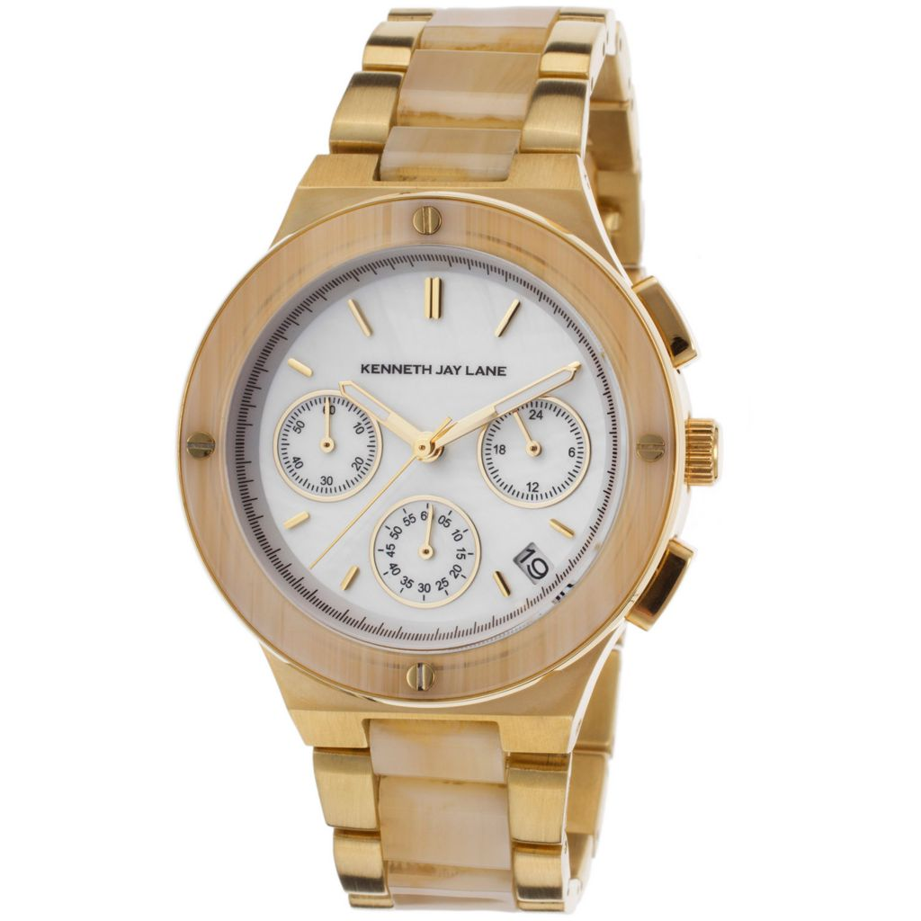 628-686 - Kenneth Jay Lane Women's 2100 Series Quartz Chronograph Stainless Steel & Resin Bracelet Watch
