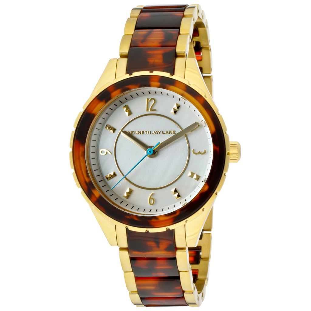 628-687 - Kenneth Jay Lane Women's Quartz Mother-of-Pearl Stainless Steel & Resin Bracelet Watch