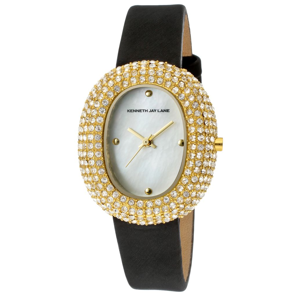 628-689 - Kenneth Jay Lane Women's Quartz Mother-of-Pearl Crystal Accented Satin & Leather Strap Watch