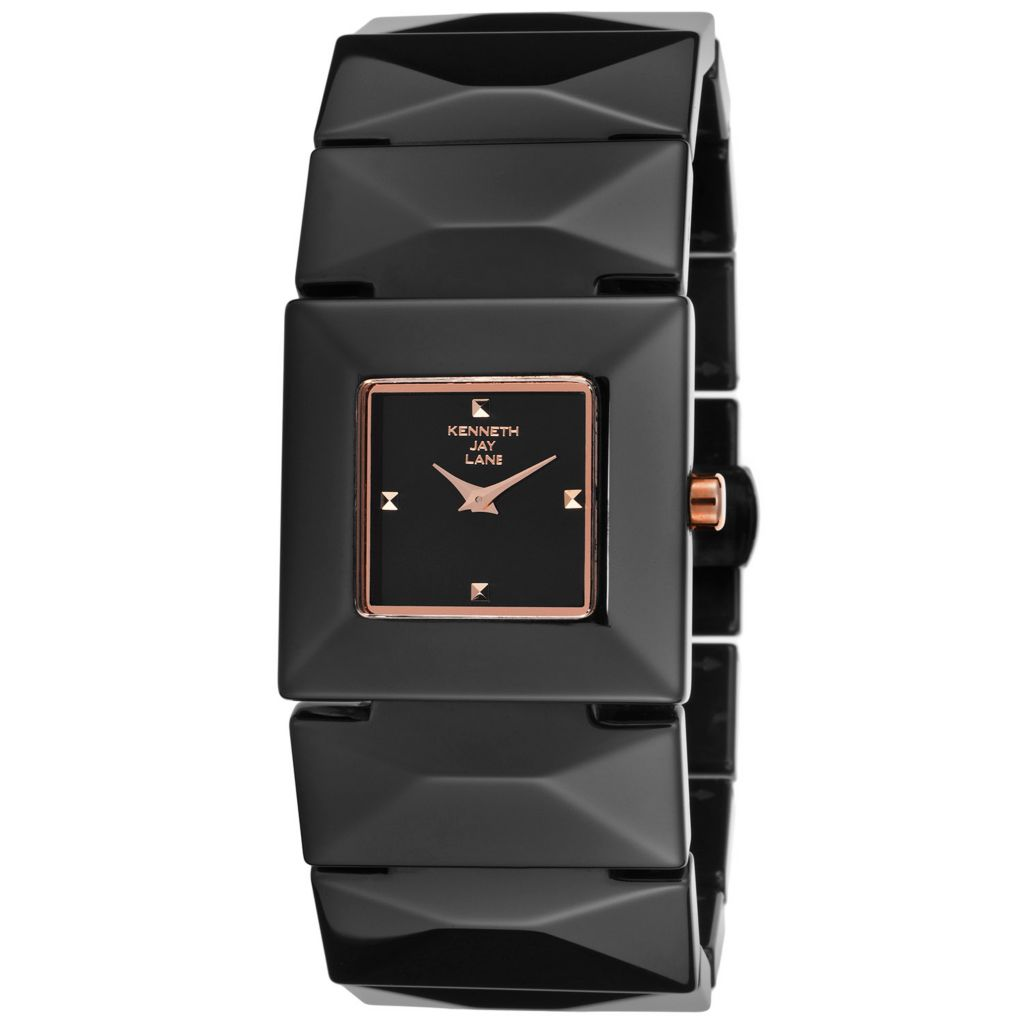 628-691 - Kenneth Jay Lane 29mm Square Mode Quartz Ceramic Bracelet Watch