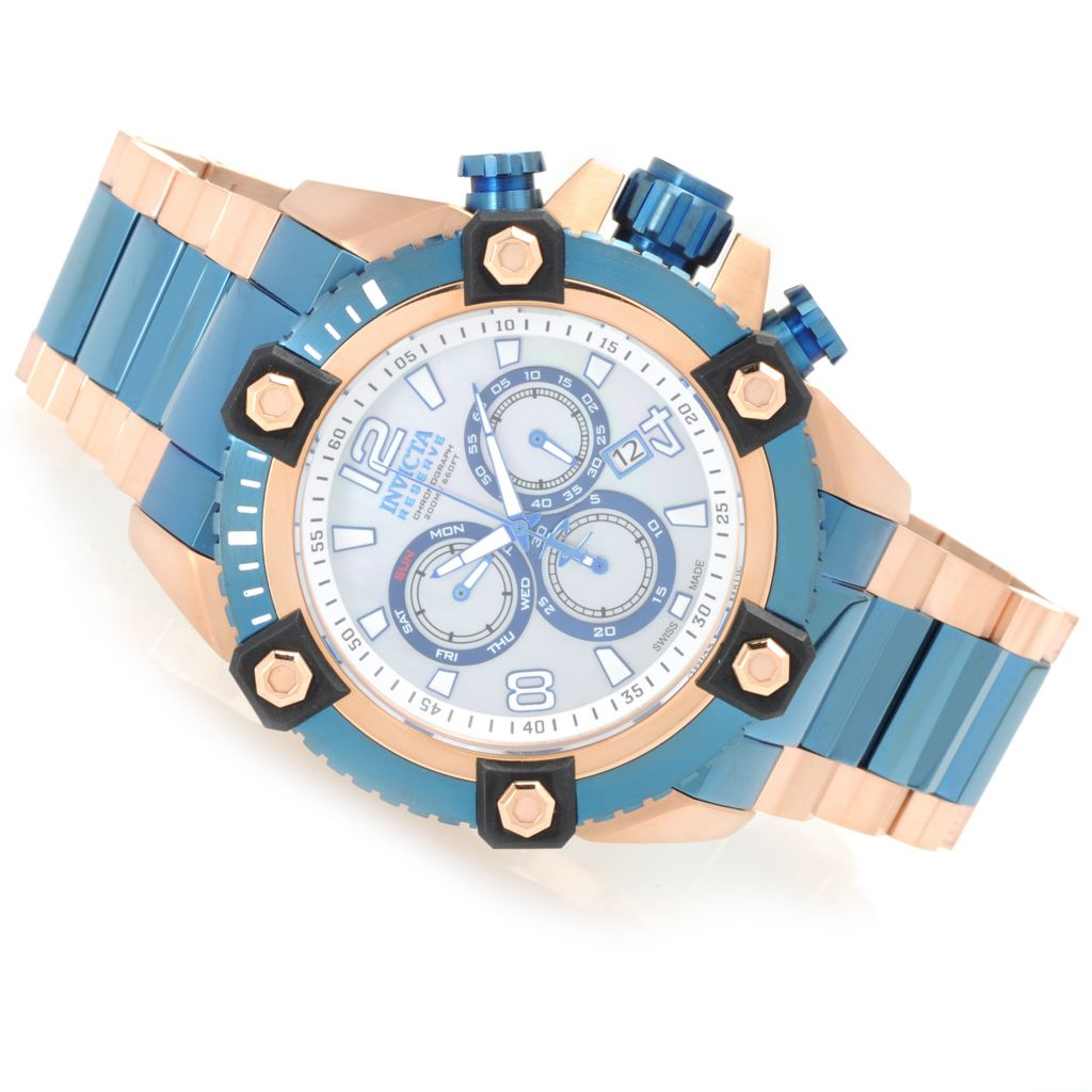 628-696 - Invicta Reserve 56mm Swiss Made Quartz Chronograph Stainless Steel Bracelet Watch