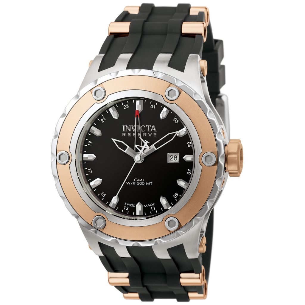 628-716 - Invicta Reserve 52mm Specialty Subaqua Swiss Made Quartz GMT Strap Watch w/ One-Slot Dive Case