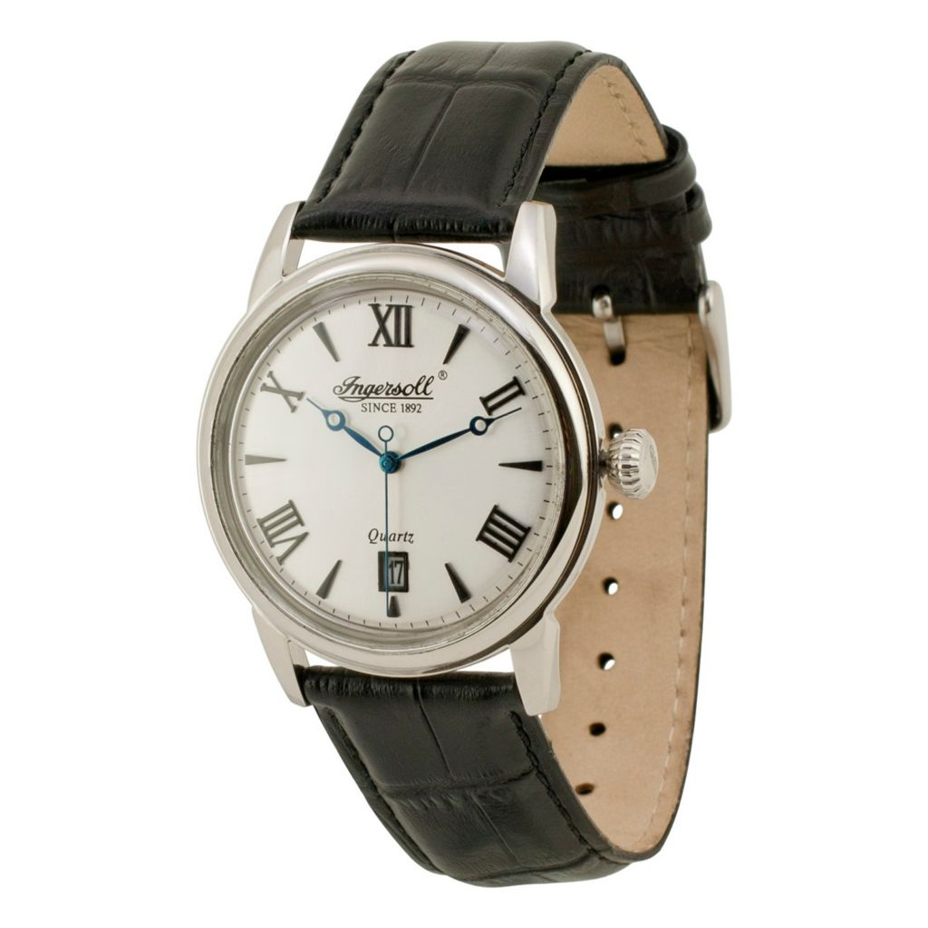 628-721 - Ingersoll 40mm Grafton Quartz Date Leather Strap Watch