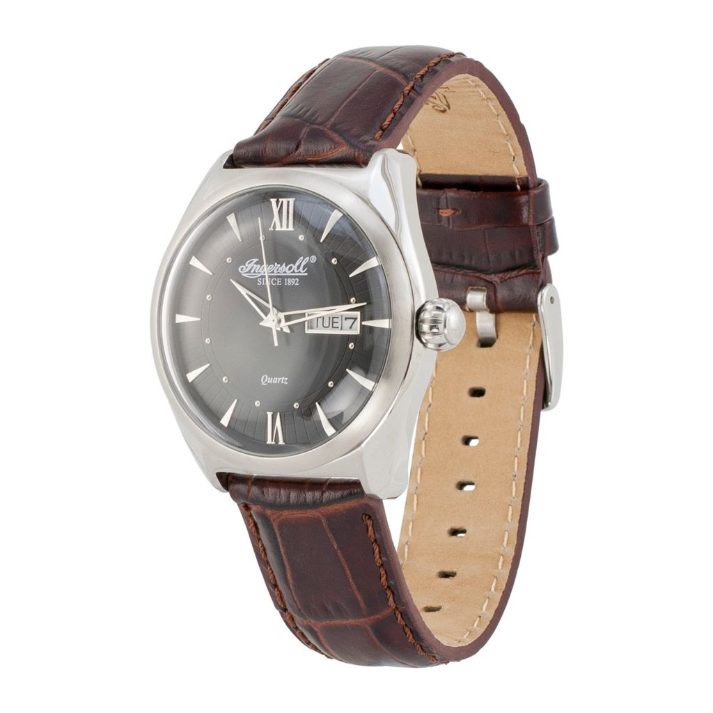 628-722 - Ingersoll 42mm Hanover Quartz Date Leather Strap Watch