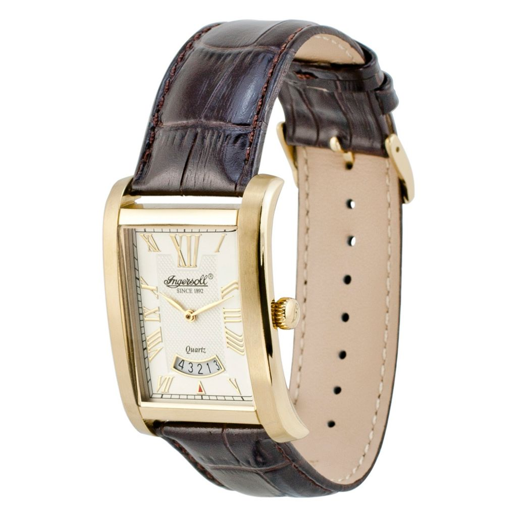 628-729 - Ingersoll Rectangular Park Quartz Date Leather Strap Watch