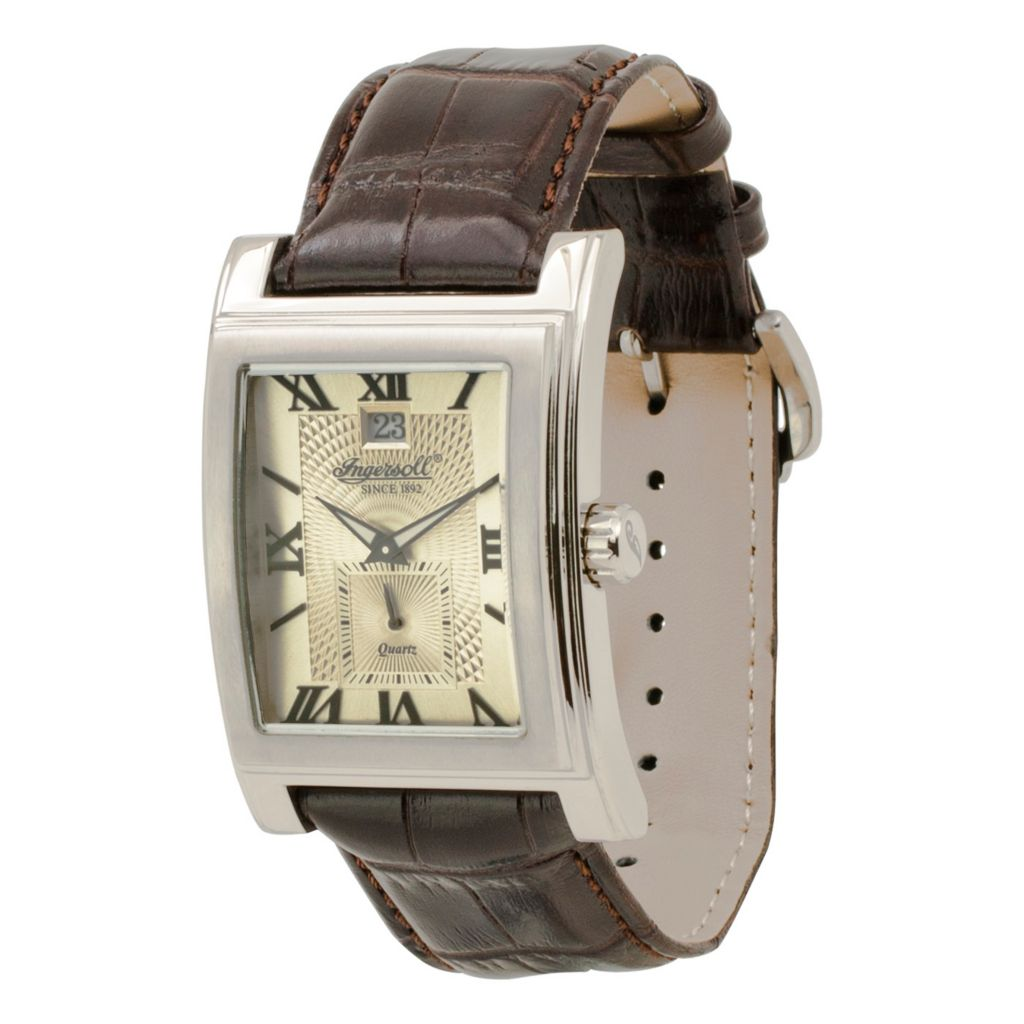 628-731 - Ingersoll Rectangular Kensington Quartz Date Leather Strap Watch