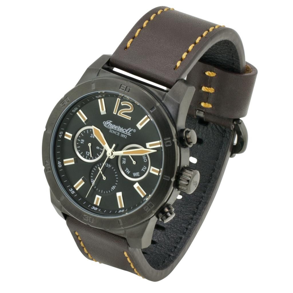 628-732 - Ingersoll 48mm Lincoln Quartz Black IP Case Leather Strap Watch