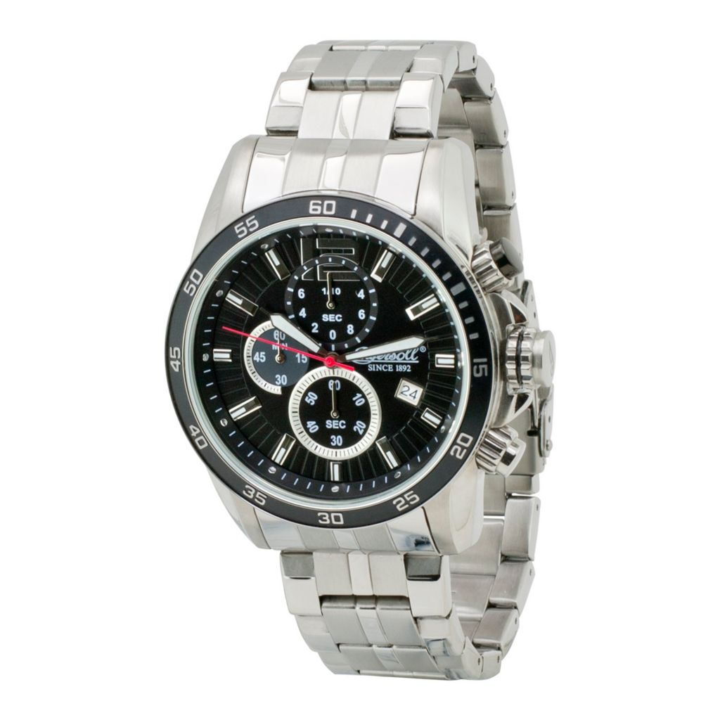 628-737 - Ingersoll 49mm Hartford Quartz Chronograph Date Stainless Steel Bracelet Watch