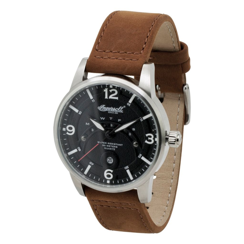 628-741 - Ingersoll 44mm Marlborough Quartz Date Leather Strap Watch