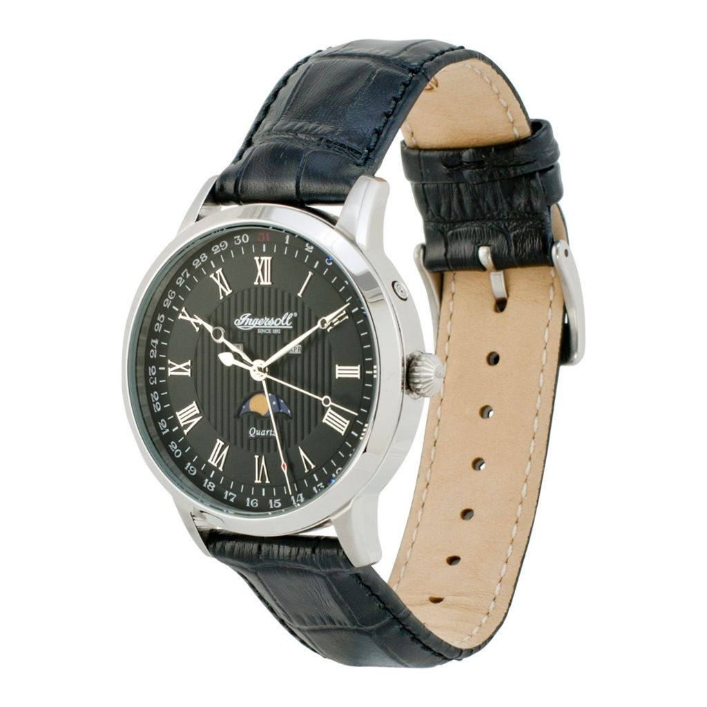628-742 - Ingersoll 44mm Oxford Quartz Moon Phase Leather Strap Watch