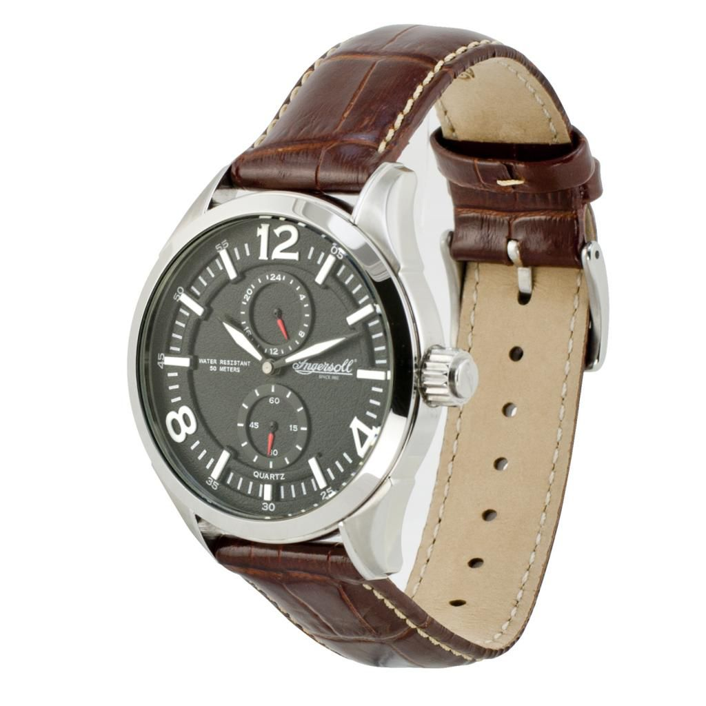 628-743 - Ingersoll 45mm Wellington Quartz Leather Strap Watch