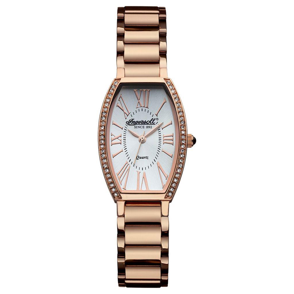 628-747 - Ingersoll Women's Lansing Swiss Quartz Crystal Accented Stainless Steel Bracelet Watch