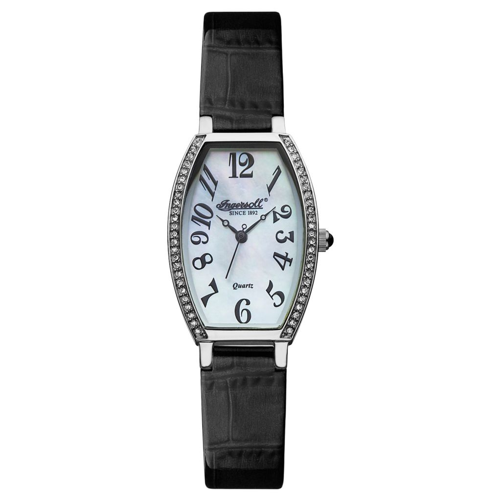 628-748 - Ingersoll Women's Lansing Swiss Quartz Crystal Accented Leather Strap Watch