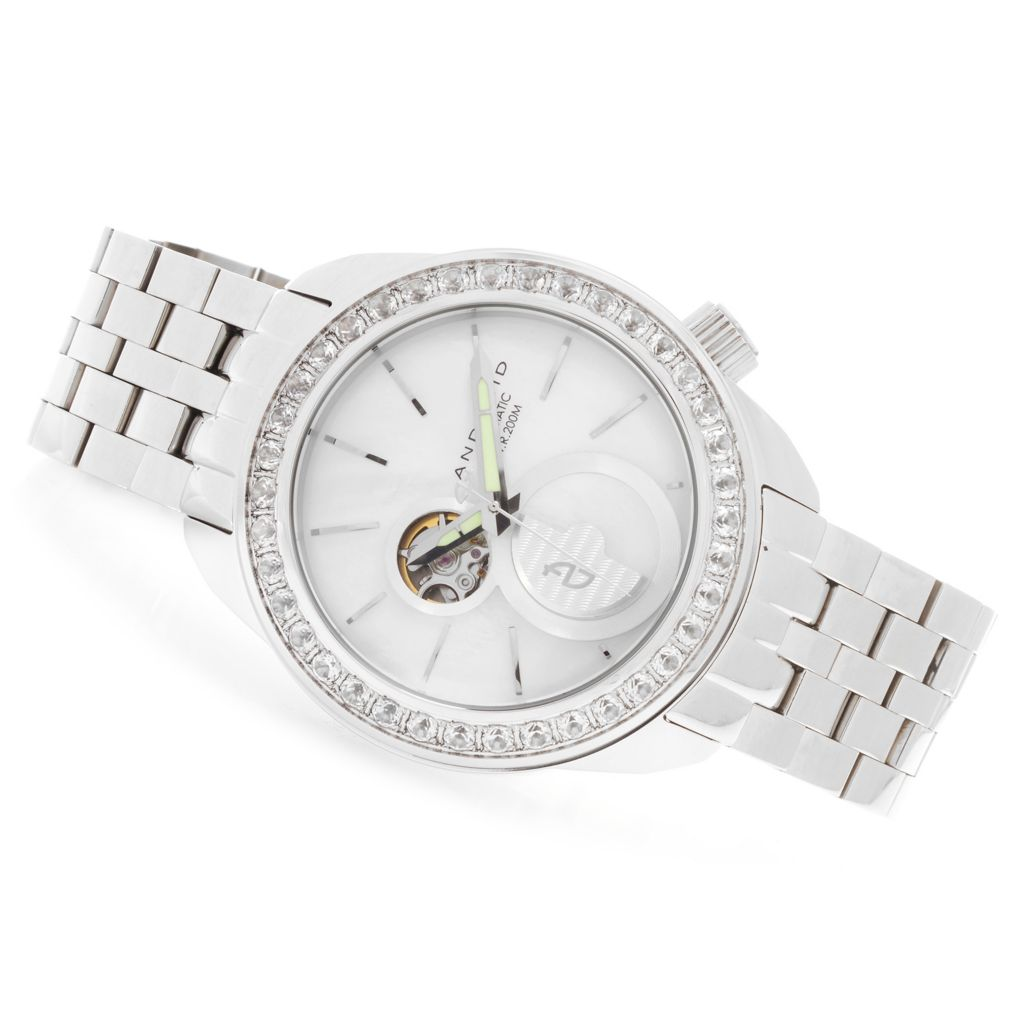 628-760 - Android 50mm MicroRotor Limited Edition Automatic 4.22ctw Gemstone Open Heart Bracelet Watch