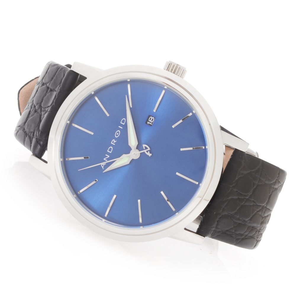 628-768 - Android 45mm Ultra Quartz Sunray Dial Stainless Steel Textured Leather Strap Watch