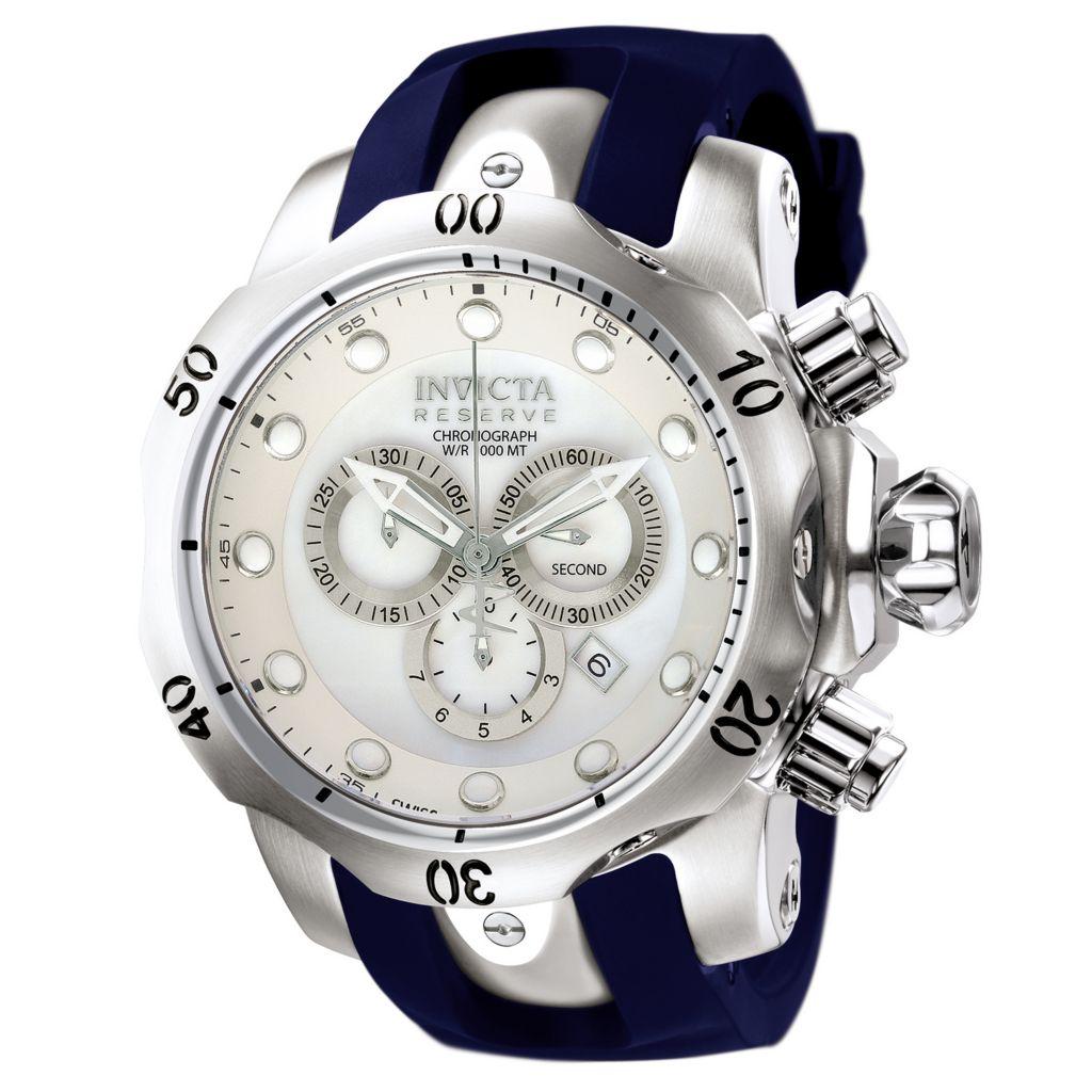 628-774 - Invicta Reserve 52mm Venom Swiss Chronograph Polyurethane Strap Watch w/ One-Slot Dive Case