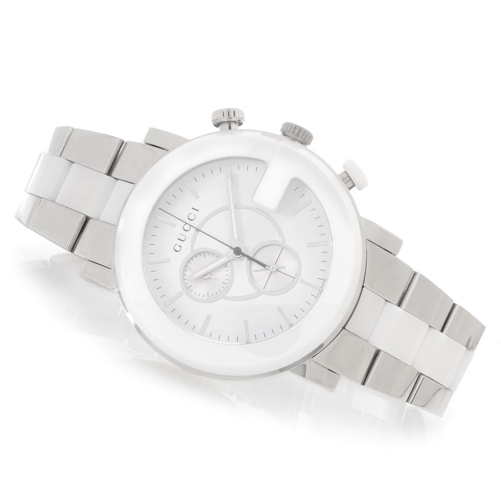 628-783 - Gucci 43mm G-Chrono Swiss Made Quartz Chronograph Ceramic & Stainless Steel Bracelet Watch
