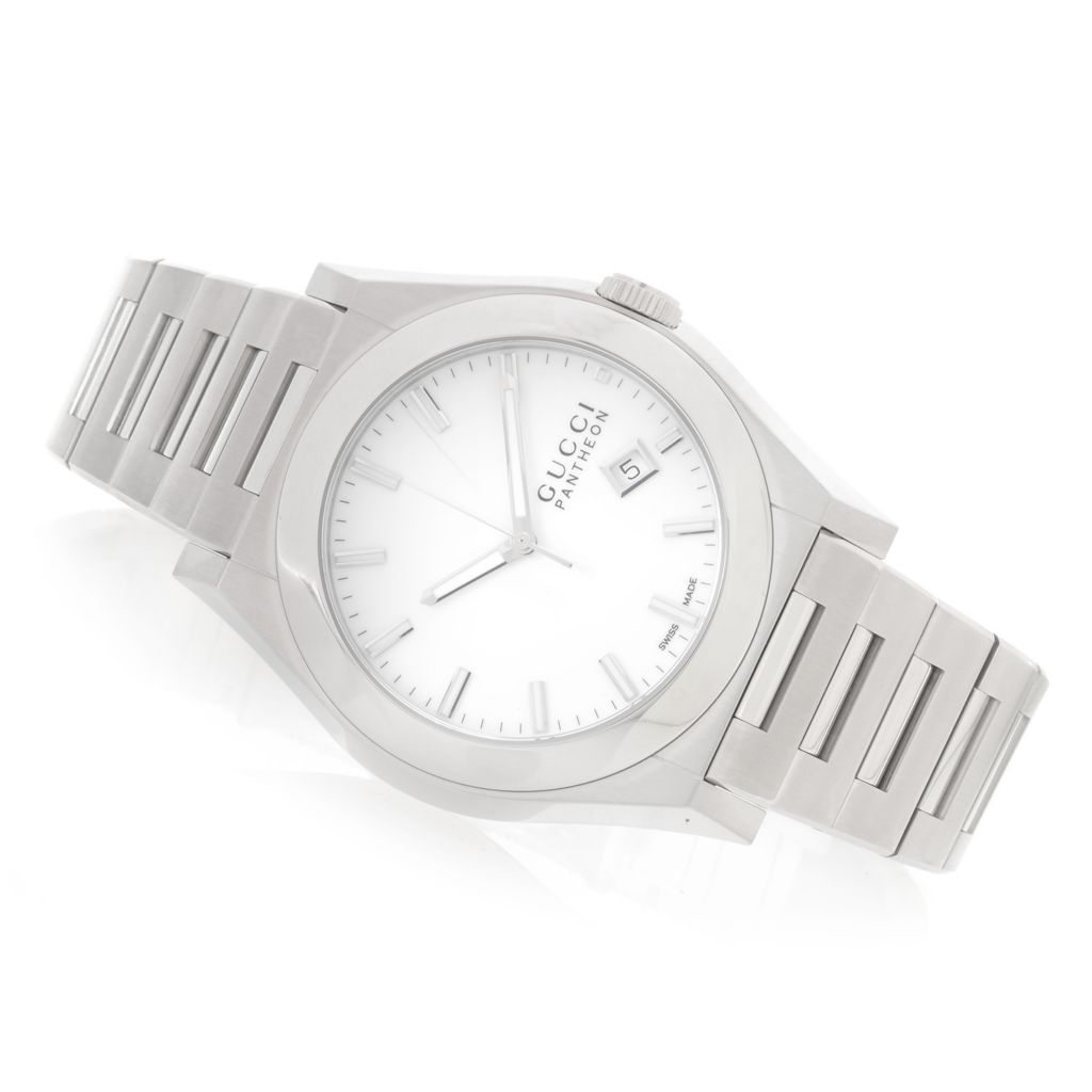 628-787 - Gucci 45mm Pantheon Swiss Made Quartz Stainless Steel Bracelet Watch