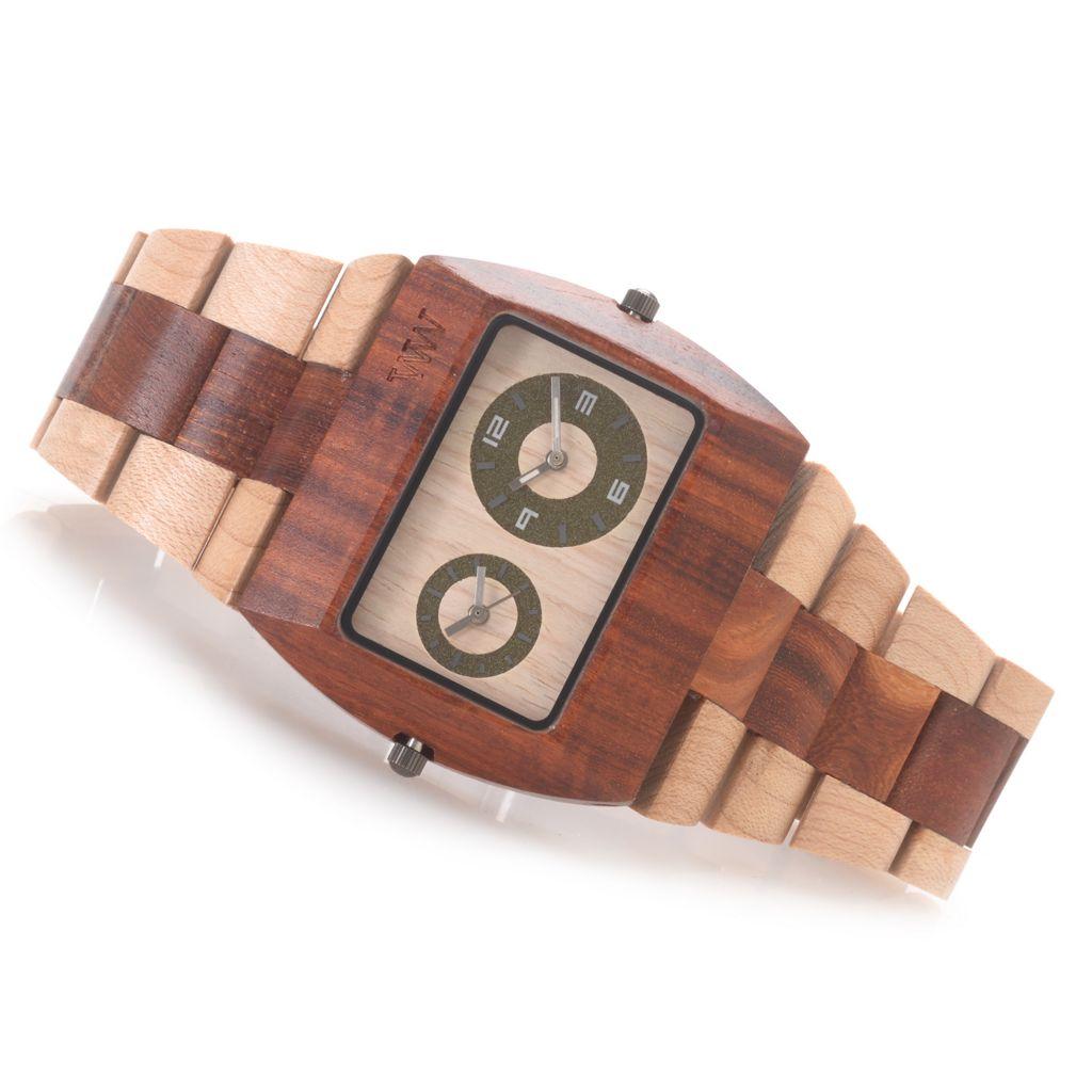 """628-794 - WeWOOD """"Jupiter"""" Quartz Dual Time Bi-Colored Wooden Bracelet Watch"""